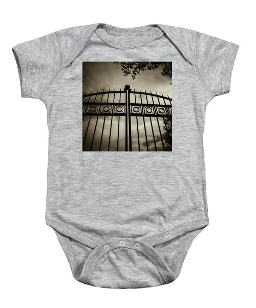 The Gate In Sepia Baby Onesie