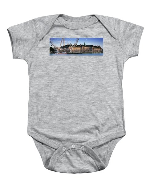 The London Eye And County Hall Baby Onesie by Rod McLean