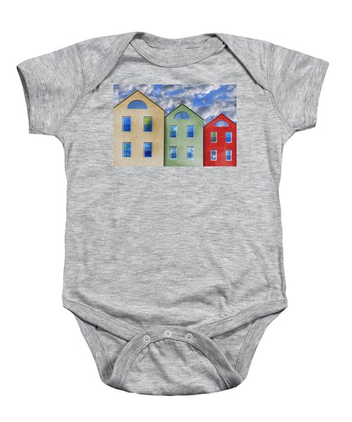 Three Buildings And A Bird Baby Onesie
