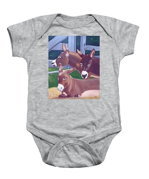 Three Donkeys Baby Onesie