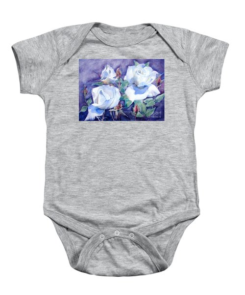 White Roses With Red Buds On Blue Field Baby Onesie