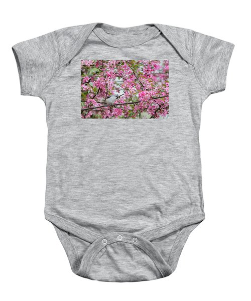 Tufted Titmouse In A Pear Tree Baby Onesie by Bill Wakeley