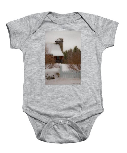 Tuftonboro Farm In Snow Baby Onesie