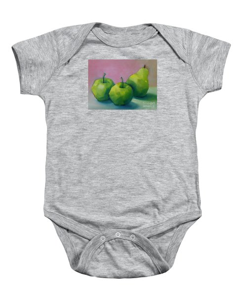 Two Apples And One Pear Baby Onesie