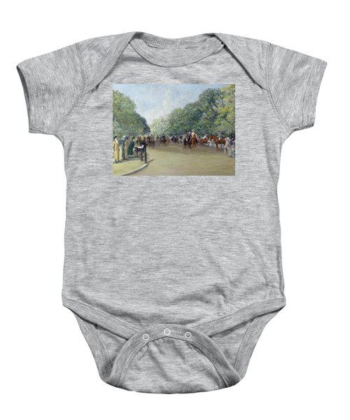 View Of Hyde Park With Figures On Rotten Row  Baby Onesie by Albert Jnr Ludovici