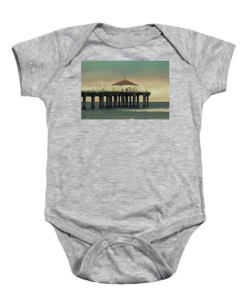 Vintage Manhattan Beach Pier Baby Onesie