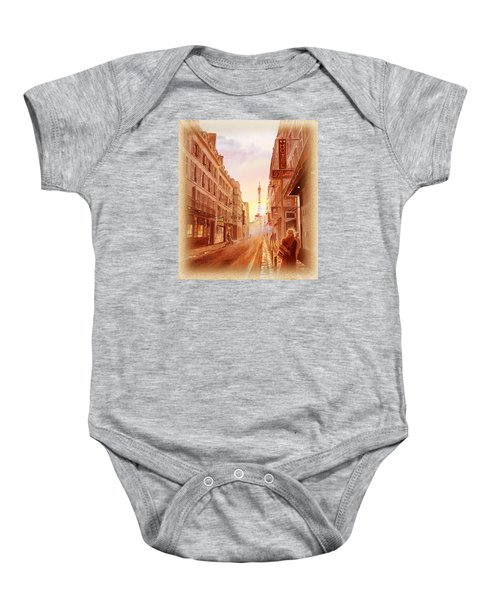 Baby Onesie featuring the painting Vintage Paris Street Eiffel Tower View by Irina Sztukowski