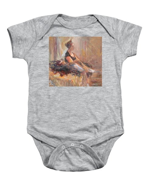 Waiting For Her Moment - Impressionist Oil Painting Baby Onesie