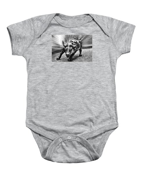Wall Street Bull Black And White Baby Onesie