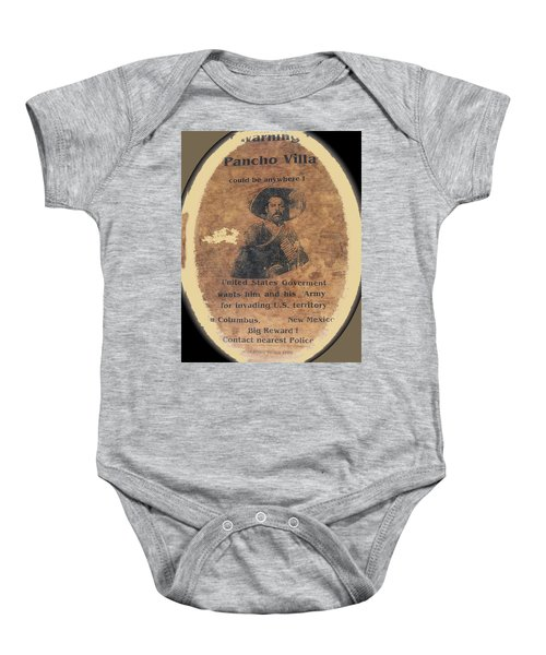 Wanted Poster For Pancho Villa After Columbus New Mexico Raid  Baby Onesie