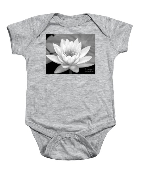 Water Lily In Black And White Baby Onesie