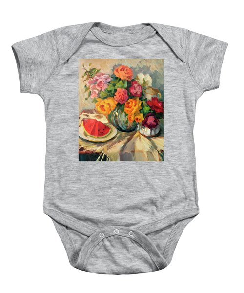 Watermelon And Roses Baby Onesie