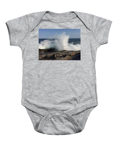 Waves Crashing On Rocky Maine Coast Baby Onesie