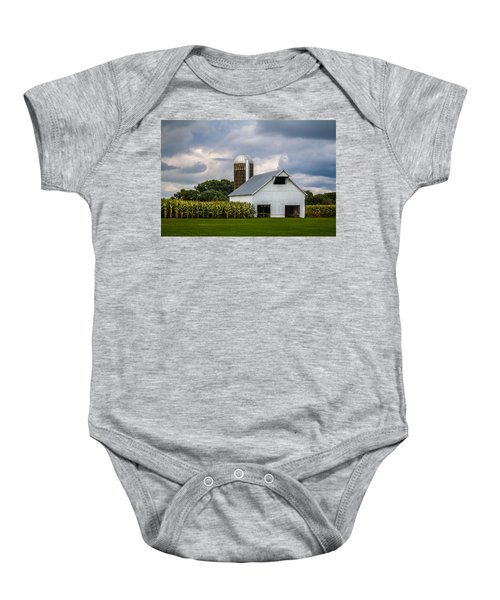White Barn And Silo With Storm Clouds Baby Onesie
