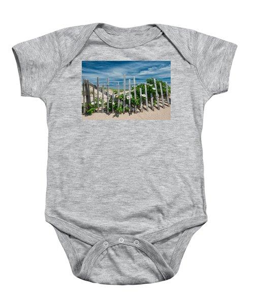 White Beach Roses Baby Onesie
