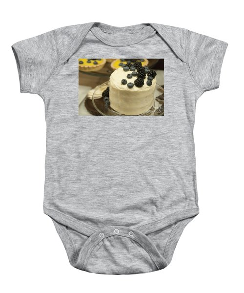 White Frosted Cake With Berries Baby Onesie