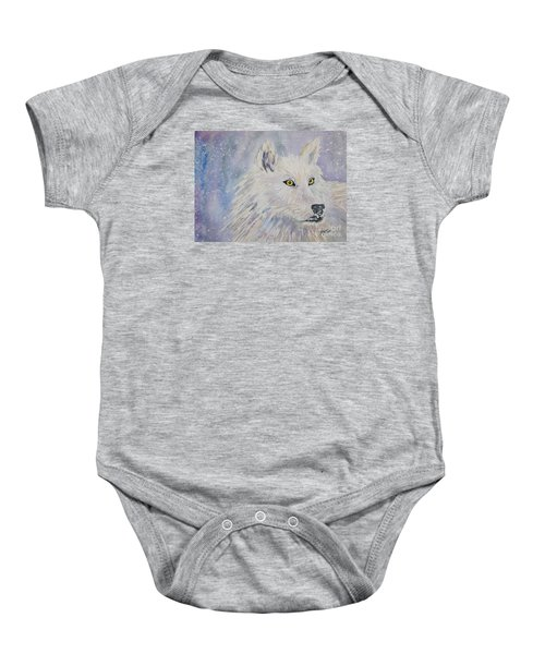 White Wolf Of The North Winds Baby Onesie
