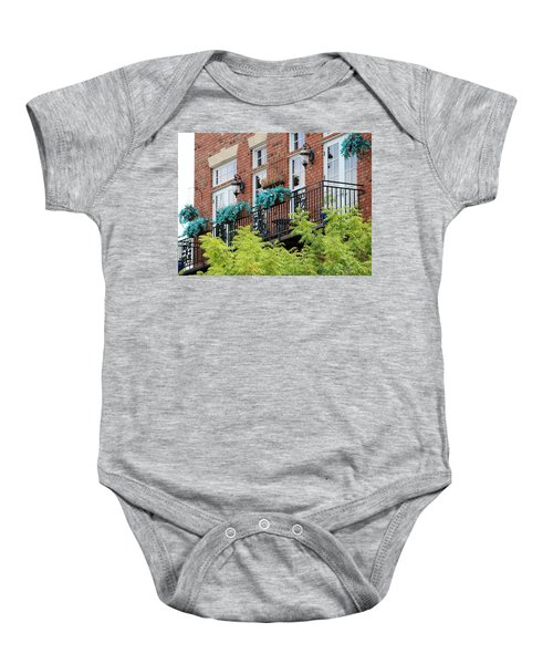 Blue Flowers On A Balcony  Baby Onesie