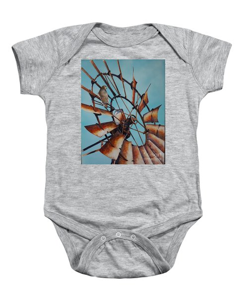 Windmill And Hawk Baby Onesie