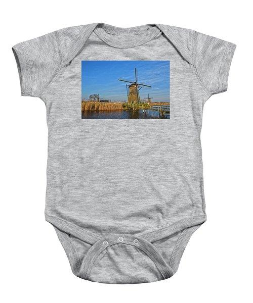 Windmills And Bridge Near Kinderdijk Baby Onesie
