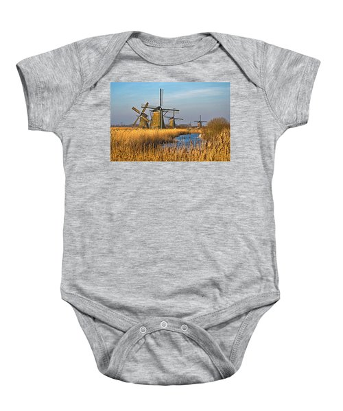 Windmills And Reeds Near Kinderdijk Baby Onesie