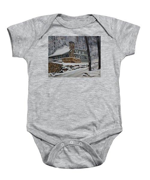 Winter - Cabin - In The Woods Baby Onesie