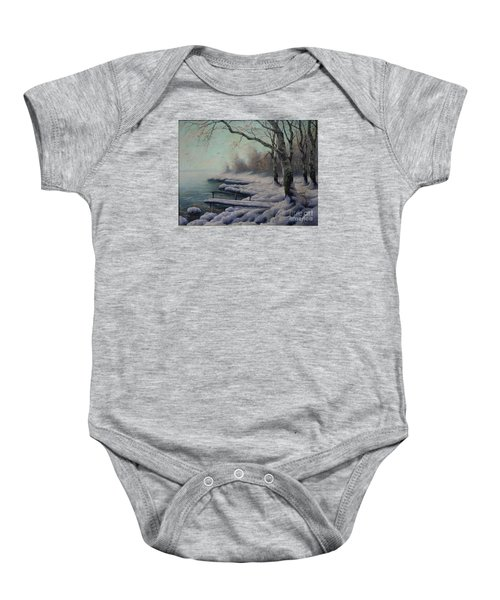Winter Coming On The Riverside Baby Onesie