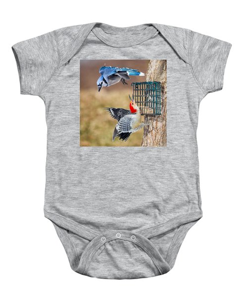 Woodpeckers And Blue Jays Square Baby Onesie by Bill Wakeley