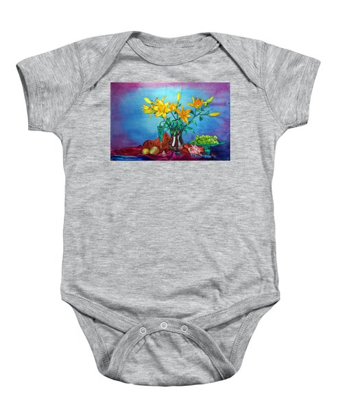 Yellow Lily In A Vase Baby Onesie