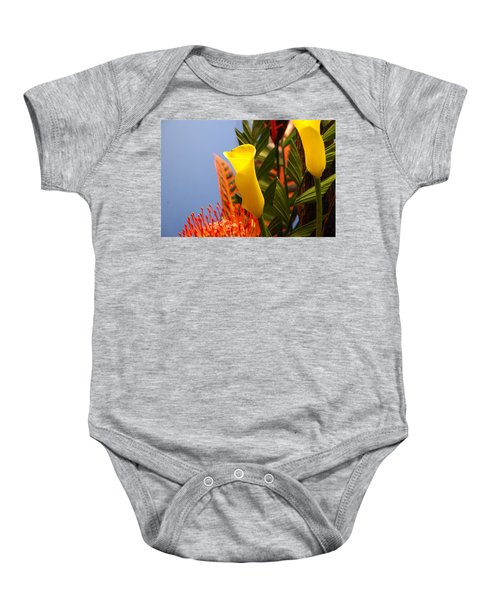 Baby Onesie featuring the photograph Yellow Calla Lilies by Jennifer Ancker