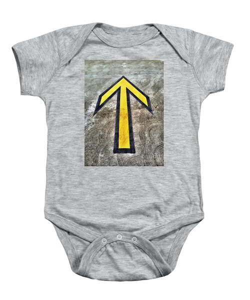 Yellow Directional Arrow On Pavement Baby Onesie
