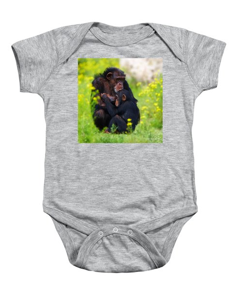 Young Chimpanzee With Adult - II Baby Onesie