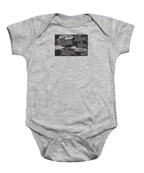 Baby Onesie featuring the drawing And Sheep Can Fly by Nareeta Martin
