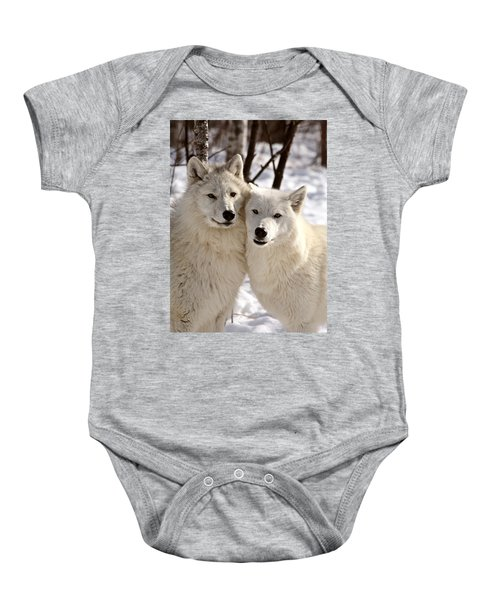 Arctic Wolves Close Together In Winter Baby Onesie