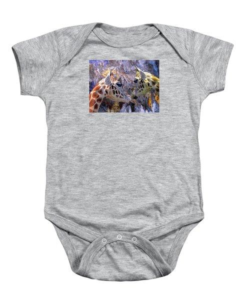 Blue Cave Giraffes Baby Onesie