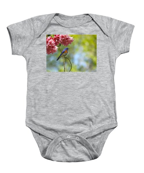 Bluebird In Cherry Tree Baby Onesie