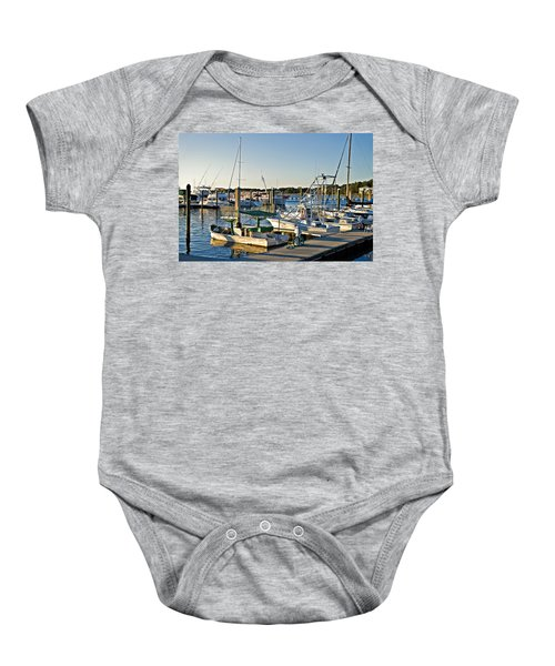 Boats At The Wharf  Baby Onesie