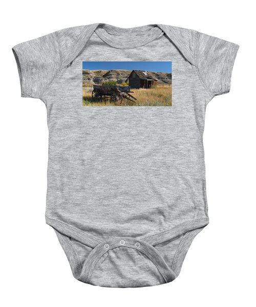 Cabin And Wagon Alberta  Baby Onesie