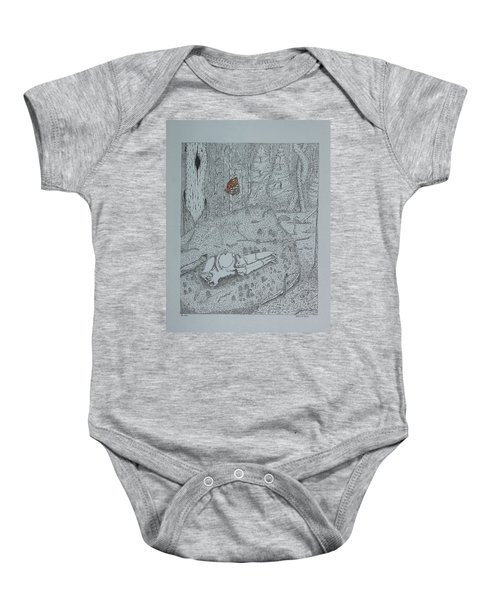 Canine Skull And Butterfly Baby Onesie