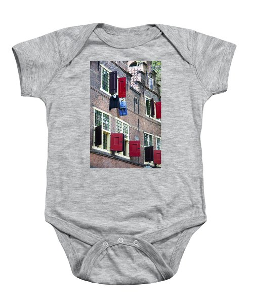Clothes Hanging From A Window In Kattengat Baby Onesie