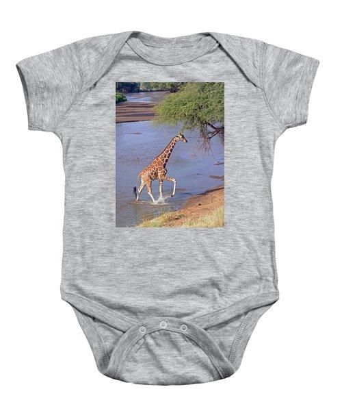 Giraffe Crossing Stream Baby Onesie