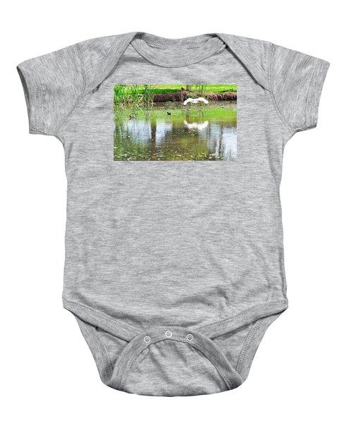 Ibis Over His Reflection Baby Onesie