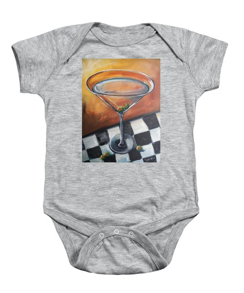 Martini On Checkered Tablecloth Baby Onesie