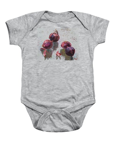 Red Onions Baby Onesie by Ylli Haruni