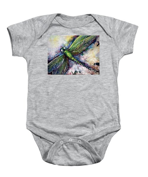 Silver Dragonfly Baby Onesie