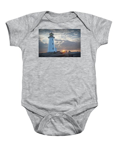 Sunrise At Peggys Cove Lighthouse In Nova Scotia Number 041 Baby Onesie