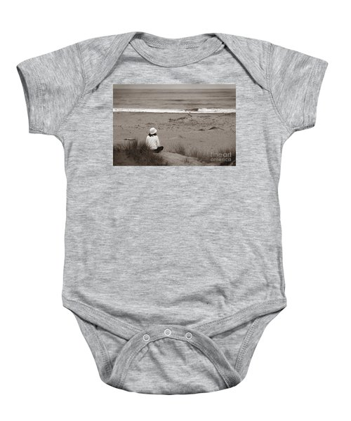 Watching The Ocean In Black And White Baby Onesie