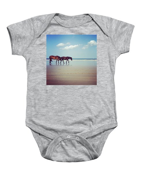 Well, This Just Happened. #wild #horses Baby Onesie
