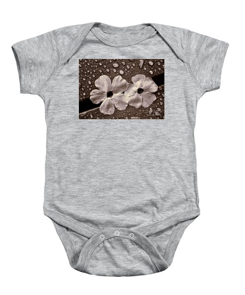 Wet Flowers And Wet Table Baby Onesie