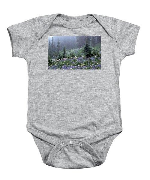 Wildflower Meadow Mt Rainier Baby Onesie